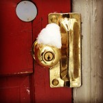 Snow on the doorknob